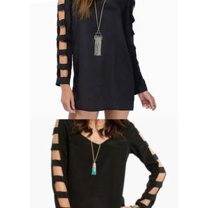TOBI Black Cut Out Long Sleeve Dress